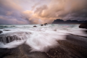 Lofoten coast at sunset, Norway